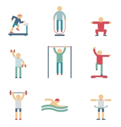 Fitness people color icons vector