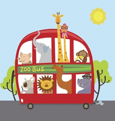 Zoo bus with cartoon animals Lion giraffe monkey vector image