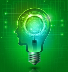Human head light bulb with abstract technology vector