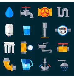Water supply icons vector