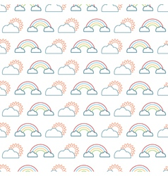 suns clouds and rainbows vector image