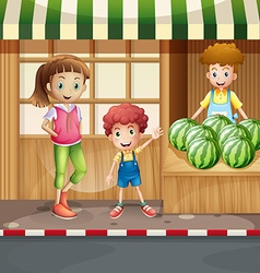 Fruit seller and customers vector image
