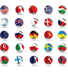 Set of world flags icons vector