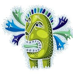 cool cartoon crazy green monster single weird vector image