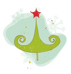 Retro christmas tree card vector