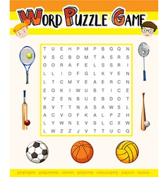 Word puzzle game with sport theme vector