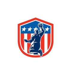 American basketball player dunk rear shield retro vector