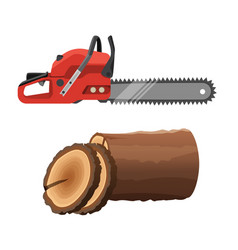 axeman saw and stump isolated on white background vector image