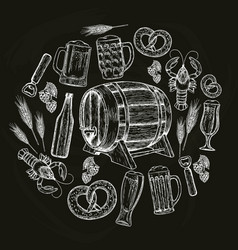 beer round template on black background vector image vector image