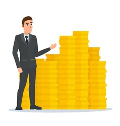 Businessman stands proudly near the pile of gold vector