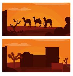 Camels walking on desert and western village vector