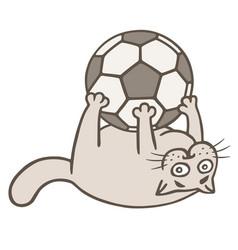 Cartoon cat soccer player caught the ball vector