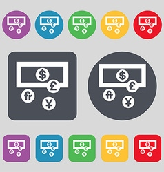 currencies of the world icon sign A set of 12 vector image