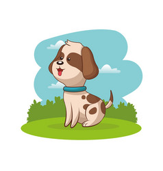 Cute doggy animal baby with landscape vector