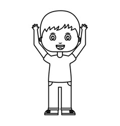 cute little boy with hands up character vector image