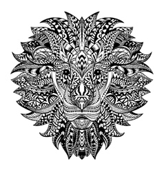 Detailed lion in aztec style patterned head on vector
