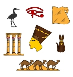Egyptian religious and culture symbols vector