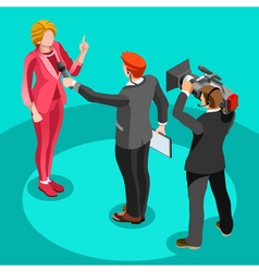 Election News Infographic Interview Isometric vector image vector image