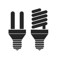 Energy saving light bulbs flat black icon vector