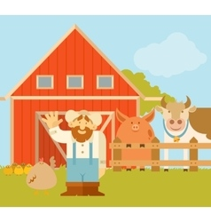 Farmer and his farm vector image vector image