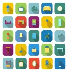 Furniture color icons with long shadow vector image