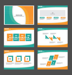Green orange presentation templates infographic vector