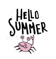 hand drawn lettering card - hello summer vector image