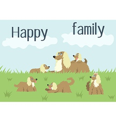 Happy family card with dog and puppies vector image