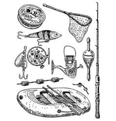 ink hand drawn fishing equipment set vector image