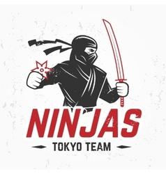 Japan ninjas sport logo concept katana weapon vector