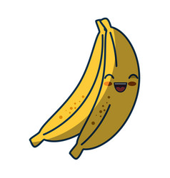 Kawaii bananas fruits icon vector