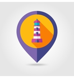 Lighthouse flat mapping pin icon with long shadow vector image vector image