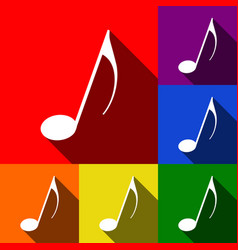 music note sign set of icons with flat vector image
