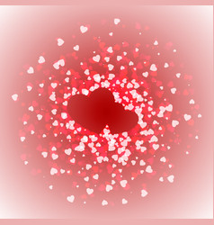 pair of hearts lined with confetti valentines day vector image