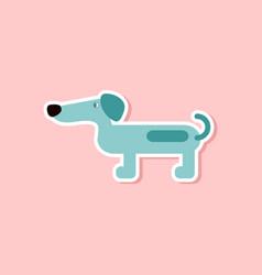 Paper sticker on stylish background dog dachshund vector