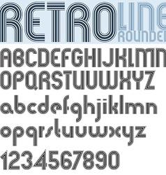 Retro line stripes effect font pattern old style vector