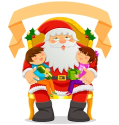 Santa and children vector image vector image