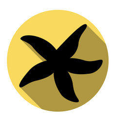 Sea star sign flat black icon with flat vector