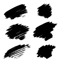 Set of different grunge brush stains vector image