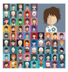 Set of people icons in flat style with faces 25 b vector