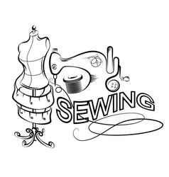 Sewing and cutting silhouette vector