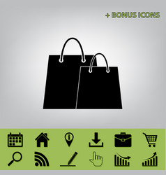 Shopping bags sign black icon at gray vector