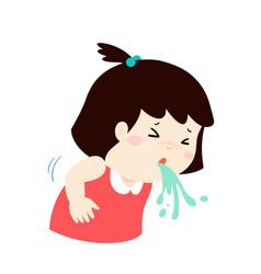Sick girl vomiting cartoon vector
