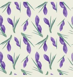 spring watercolor violet crocuses seamless vector image vector image