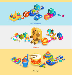 Toys isometric banners vector