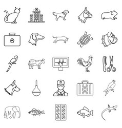 treat the animal icons set outline style vector image