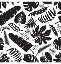 Tropical leavesbranches seamless patternBlack vector image