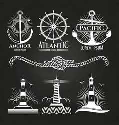 vintage marine nautical logos and emblems with vector image