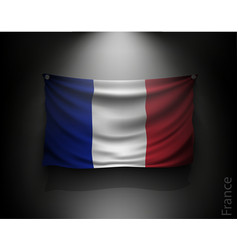 waving flag france on a dark wall vector image vector image