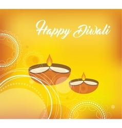 Yellow color card design for Diwali vector image vector image